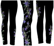 PLUS SIZE Full-Length Leggings Embellished Rhinestone Lavender Star Flower