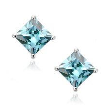 Aquamarine Square Princess Cut CZ Crystal WG 925 Sterling Silver Stud Earrings