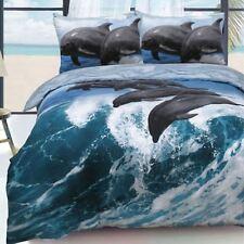 Dolphin Waves Blue 3D Reversible Duvet Quilt Cover Set Marine Ocean Fish Bedding