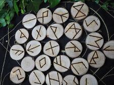 Cherry Wood Elder Futhark Runes -  Bag & Information sheet - Pagan, Witchcraft