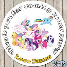Mon petit poney 45mm 64mm cercle rectangle personnalisé anniversaire stickers S064