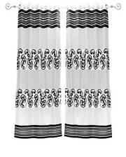 White Black Ring Top Tissue Curtain Panel Drape -Piece