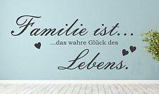 Wandtattoo -Familie ist das wahre Glück des Lebens -  Wandbild Aufkleber Fenster