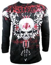 XZAVIER [Unforgiven Skull] camuflaje t-shirt foil MMA motero Harley rocker Wings