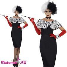 Ladies Licensed Evil Madame Costume Cruella De Vil 101 Dalmations Fancy Dress