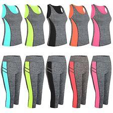 Women Active Mid-Calf Pants Ladies Vest Capri Leggings Tight Panel Detail S-XL