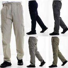 Mens Elasticated Cargo Combat lightweight Cotton Work Trousers Bottoms Pants