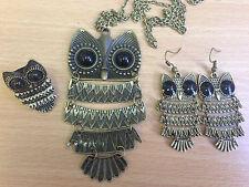 Girls Bronze Owl Black Eyes - Choose Necklace Earrings Ring or Jewellery Set