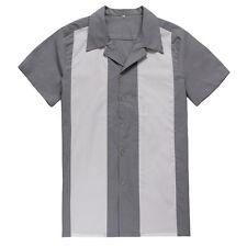 Mens Rockabilly Cheap Bowling Shirts Cotton Top Gray Casual Shirts Retro