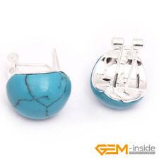 Oval Gemstone White Tibetan Silver Stud Earrings Jewelry XMAS Gift 12x16mm