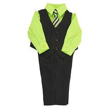 Infant 4 PCS Pinstripe Vest & Pant Set Lime Shirt Matching Tie Size 3-9 Months