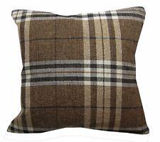 Qa103Aa Dark Brown Rough Linen Blend Check Stripe Cushion Cover/Pillow Case*Size