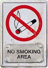 Plaque Métal NO SMOKING AREA (Interdit de Fumer)