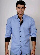 Absolute Rebellion Macho Blue Fashion Men L/Sleeve shirt squared Italian Concept