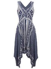HANDKERCHIEF Hem DITSY Floral Border Print Dress NAVY / WHITE Size 12 LAST ONES