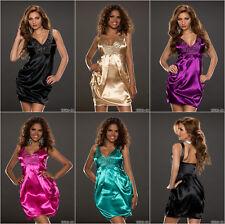 Damen Minikleid Schwarz Gold Lila Pink Türkisgrün Satin Nieten Uni Größe 34 36