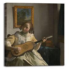 Vermeer donna suona chitarra quadro stampa tela dipinto telaio arredo casa