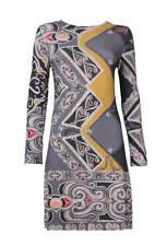 Ivko Lana De Cordero impreso vestido floral RELIEFS Retro Gris Antracita 62612