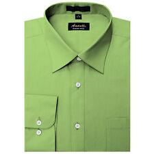 Mens Dress Shirt Plain Apple Green Modern Fit Wrinkle-Free Cotton Blend Amanti