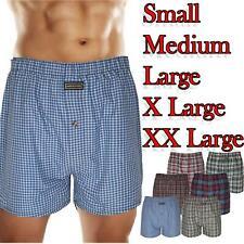 Woven Mens Check Print Polycotton Boxer Short Underwear Plain Trunk