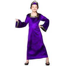 Ragazze Tudor Principessa Regina Medievale Viola Costume