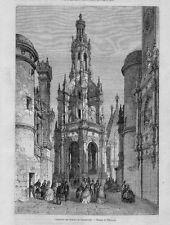 Stampa antica Castello di CHAMBORD Loira Francia 1860 Ancien Gravure Old Print
