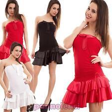 Vestito donna miniabito ondeggiante ruches fiocco bandeau ballo nuovo LINI159