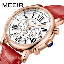 MEGIR Lady Casual Quartz Watch Chronograph Leather Waterproof Sports Wristwatch