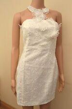 New Lipsy Applique Flower Lace Cream/ Off White Halterneck Dress Sz UK 10