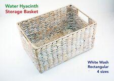 Water Hyacinth Rectangular Storage Basket Hamper White Wash 4 Sizes Available