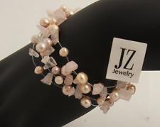 Freshwater Peachy & Dusky Pink Pearls with Rose Quartz Necklace & Bracelet Set