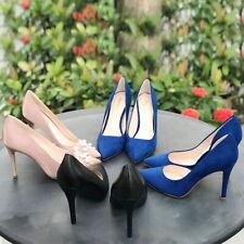 JENN ARDOR Women Stilettos High Heel Shoes Pointed Toe Slip On Pearl Dress Pumps