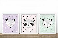 Pastel Woodland (Ensemble de 3) - Nursery Prints-Chambre de bébé-MUR ART-ANIMAUX