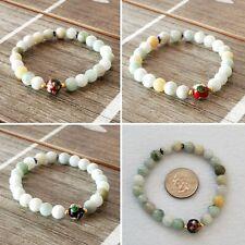 Burmese Jade Stretch Bracelet with Accent Bead