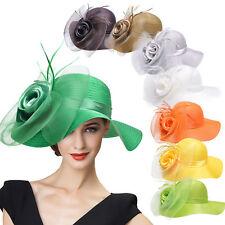 Womens Satin Crin Feather Veil Flower Kentucky Derby Racing Party Dress Hat A433