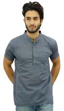 vêtements ethniques courte chemise col mao en coton gris hommes Atassi