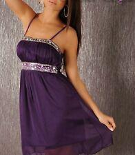 Miss Sexy donna bandeau mini abito chiffon Glitter Pietre DRESS 34 36 38 LILLA