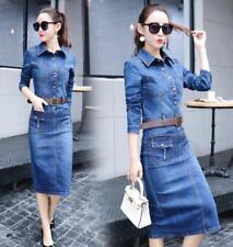 2018 Korean Womens Vintage One Step Long Sleeve Belt Slim Denim Dress Jeans Tops