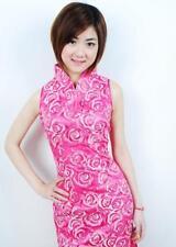 Joli Mini Robe Chinoise Qi-Pao Rose Voile et Satin T38 L