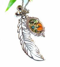 Feder Kette +++ Auswahl +++ lange Halskette mit Anhänger +++ KLUNKER Cabochon
