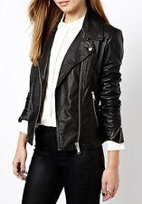 Women Leather Jacket Soft Solid Lambskin New Handmade Motorcycle Biker S M # 10