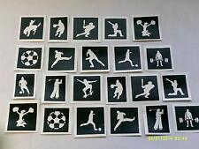 Sport themed stencils for glitter tattoos / airbrush (mixed) football, skating