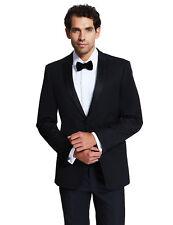 """M&S Autograph Black Wool Blend Tuxedo / Evening Suit Sz 38 Long W 30"""" & 34"""""""