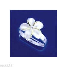 SILVER 925 HAWAIIAN PLUMERIA FLOWER RING 15MM CZ 2 TONE SZ 4- 10