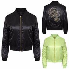 Womens Ladies MA1 Diamantee Classic Casual Bomber Jacket Vintage Zip Up Biker