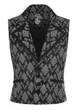 Veste sans manche noire avec motifs gris baroques, gothique romanti Punk Rave