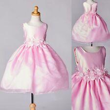 Pink Satin & Organza Handmade Flower Girl Dress Recital Toddler Infant Easter#35
