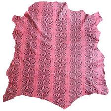 Pink Leather Hides Genuine Lambskin Skins Snakeskin Print Upholstery Fabric F878
