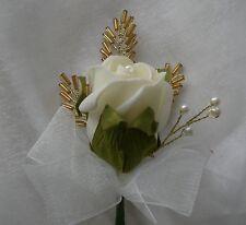 Mariage Fleurs Single Rose, Perles Feuille & Pearl en Boutonnière Marié huissiers