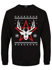 Satan's Reindeer Men's Christmas Sweater Black
